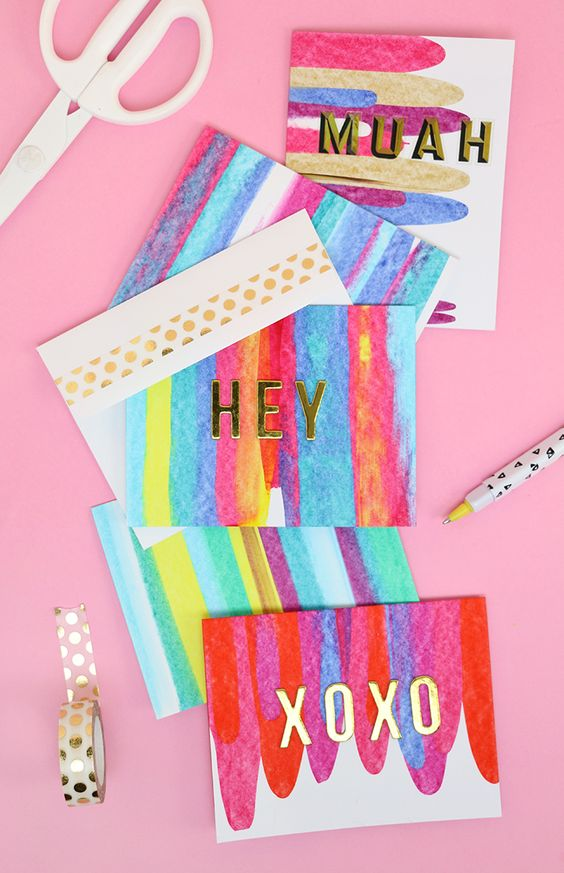 4. Don't send out your Easter cards on boring store-bought stationary! This DIY art project idea is really easy, so much fun, and makes beautifully colored notecards. You just need a few simple supplies you may already have! |  PERSIALOU