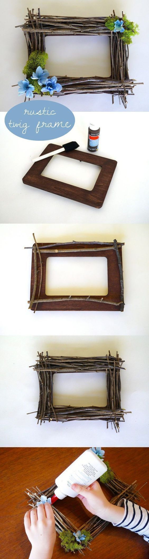 5. A twig frame is a beautiful, rustic way to showcase your most favorite photos. For some extra authenticity, choose twigs from your own backyard or neighborhood. It works well as a group activity and can also be made kid-friendly. |  EHOW