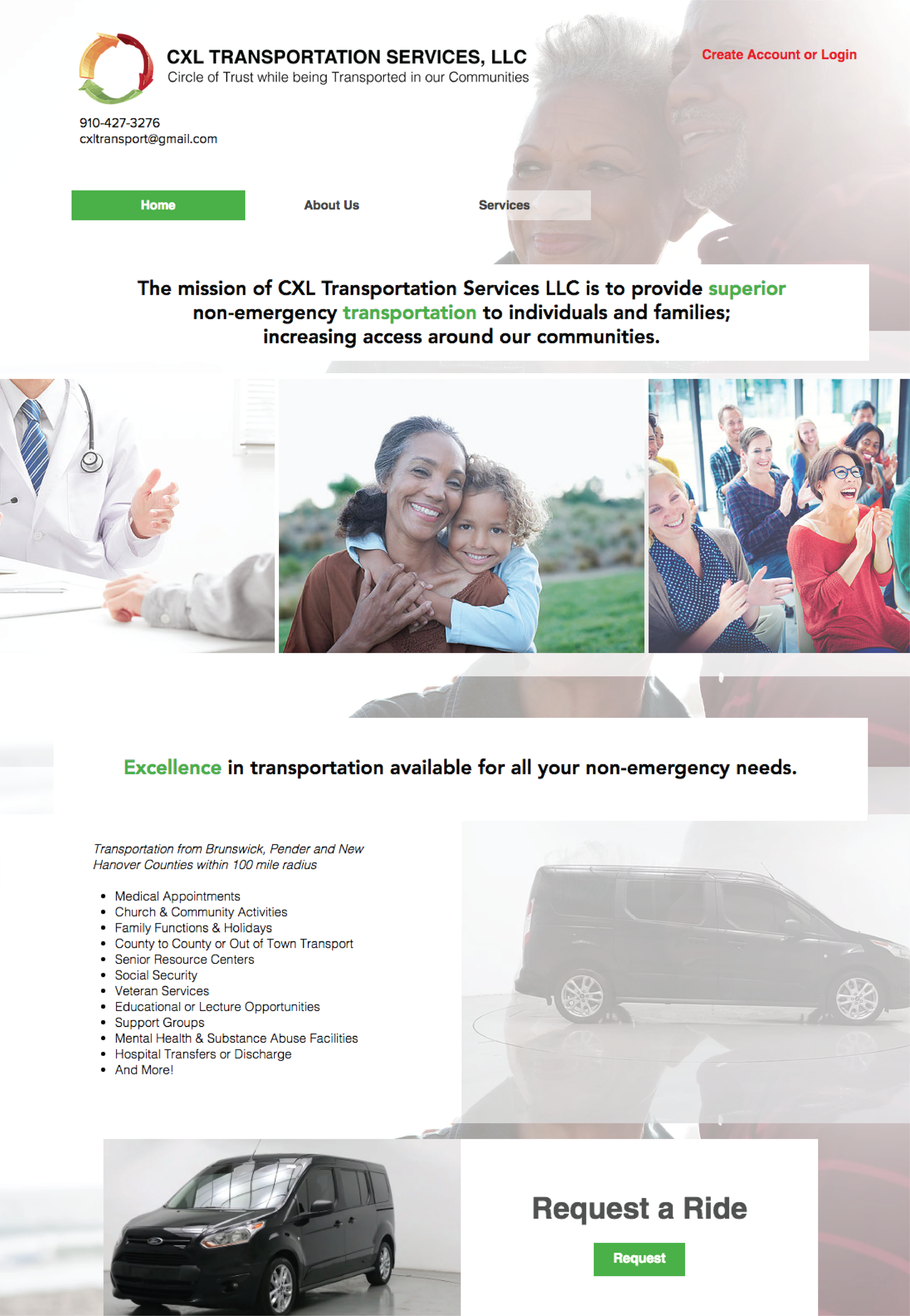 Website Creation - Company: CXL Transportation Services, LLCFeatures: Member login, scrolling image carousel, mobile friendly site, ride booking capabilitiesLink to Site: www.CXLTransport.com