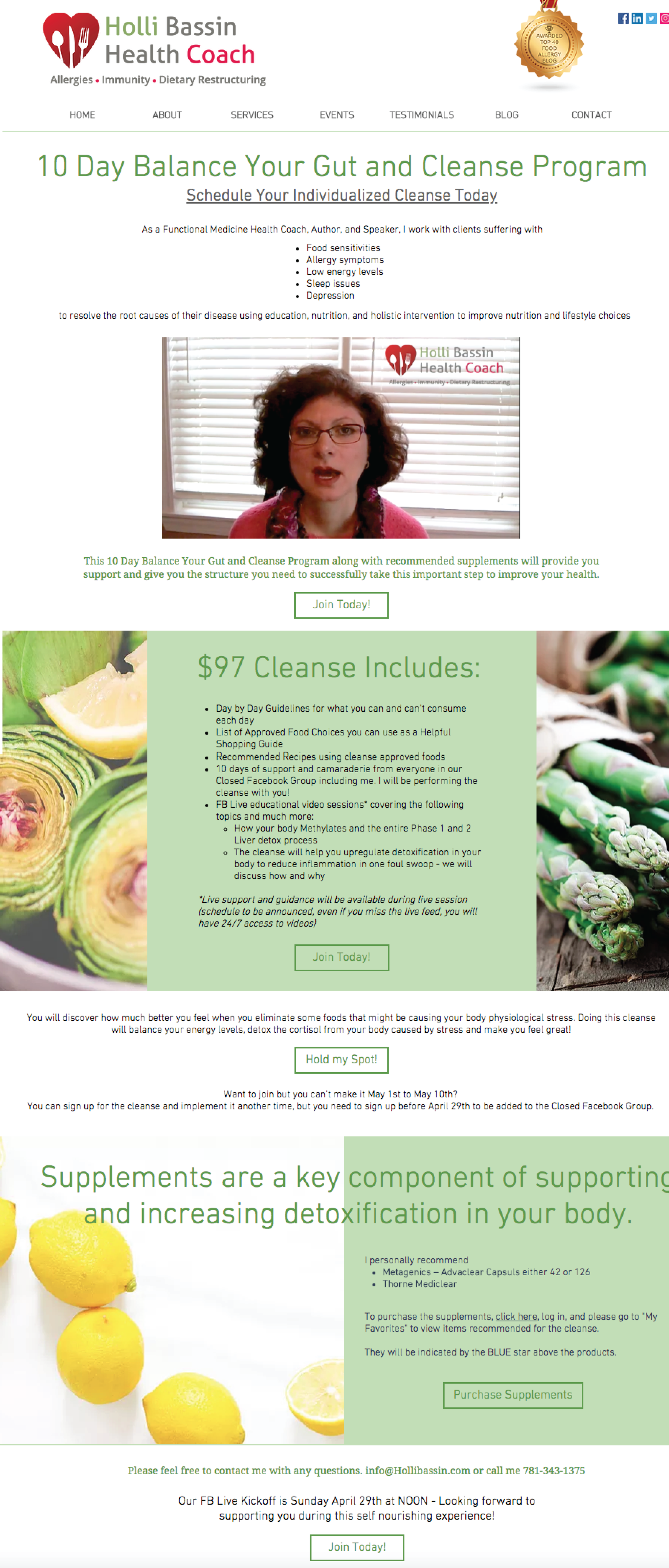 Web Page Design - Company: Hollin Bassin Health CoachProject: Design special page for website to promote 10 Day Balance your Gut and Cleanse Program. Edit video to brighten visual and include logo.Link to Site: https://www.hollibassin.com/cleanse