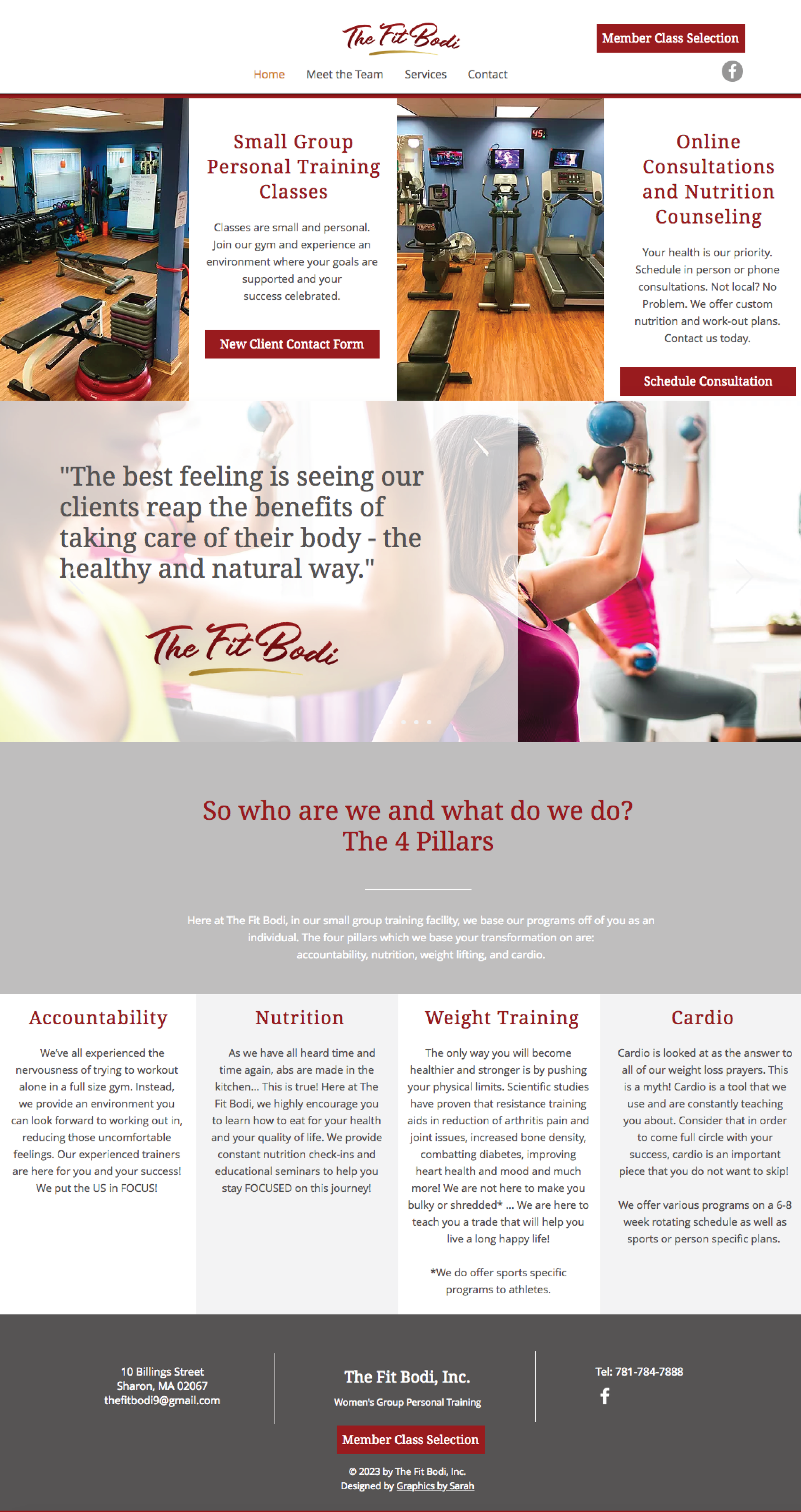 Website Creation - Company: The Fit Bodi Inc.Features: Scrolling Image carousel, mobile friendly site, links to class booking, contact formsLink to site: www.thefitbodisharon.com