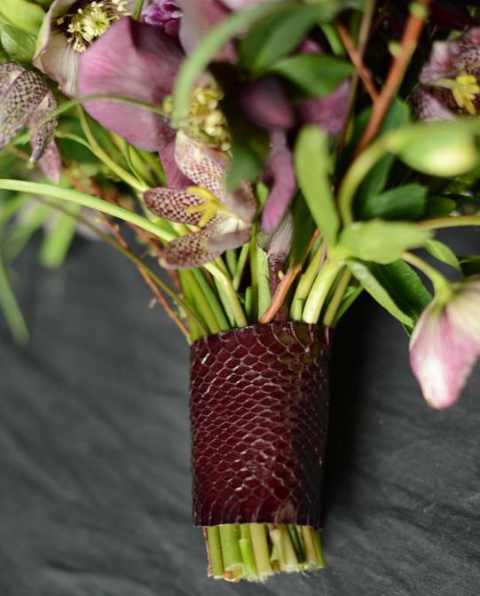 Sullivan-Owen-Spring-Wedding-Bouquet-Fritillaria-Hellebore-Philadelphia-Snakeskin-Wrap