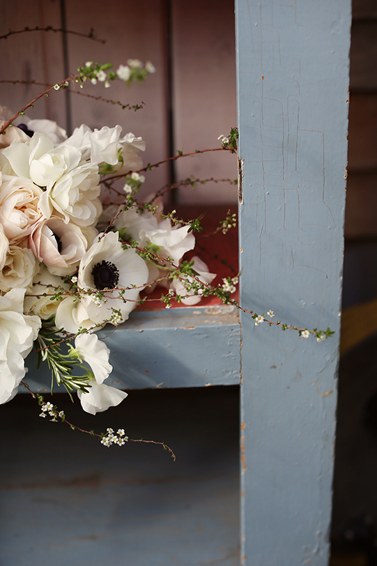 Sullivan-Owen-Alison-Conklin-Terrain-Winter-Wedding-Bouquet-Detail-Spirea-GardenSnow-Rosemary-SweetPea