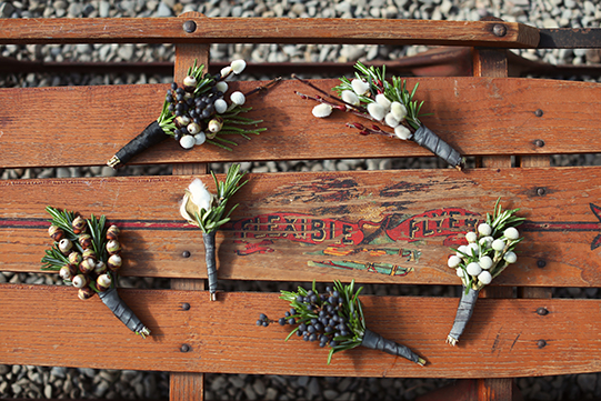 Sullivan-Owen-Alison-Conklin-Terrain-Winter-Wedding-Boutonnieres-Sled