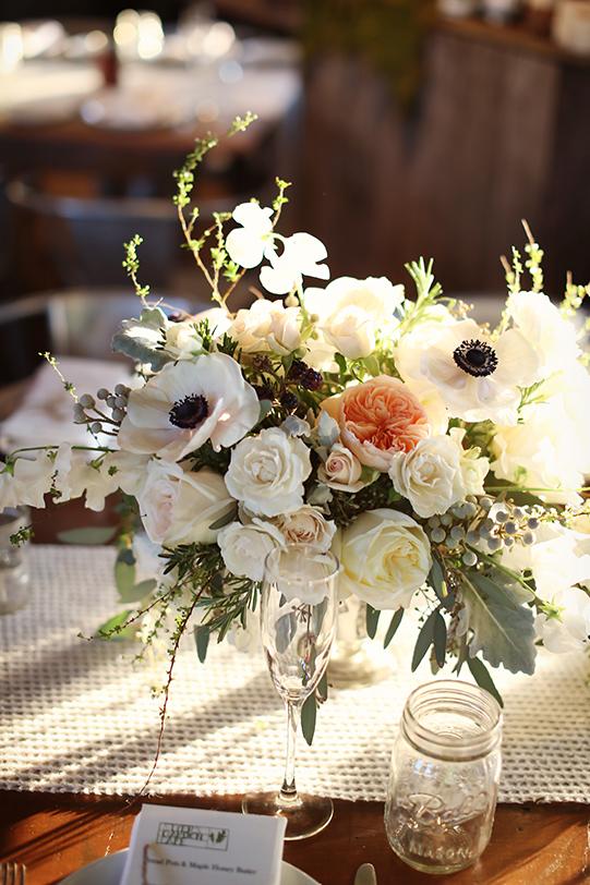 Sullivan-Owen-Alison-Conklin-Terrain-Winter-Wedding-Centerpiece-Anemone-Spirea-Garden-Rose
