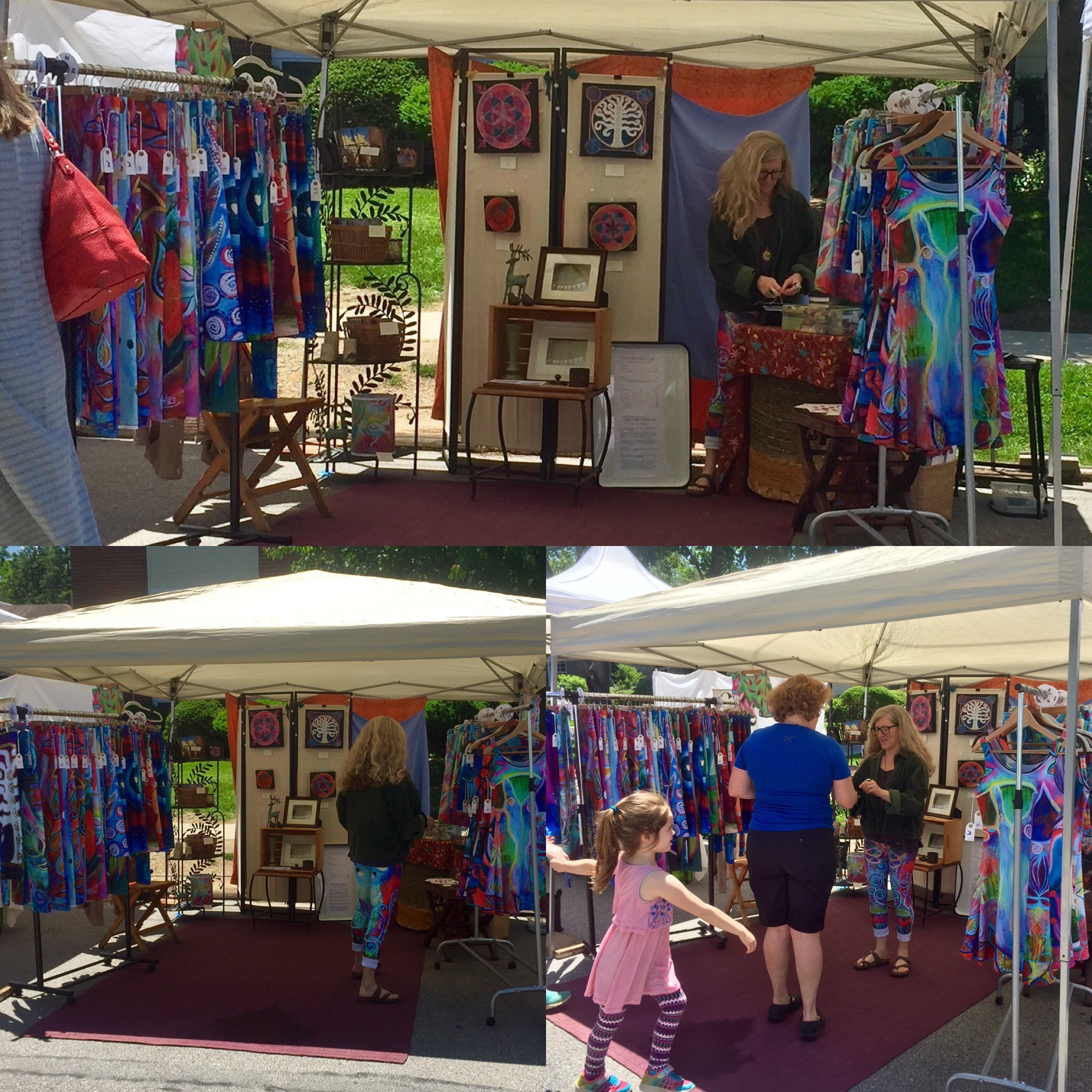 Clair Wear Booth at the Maker's Market, Swarthmore, PA,  June 3, 2017
