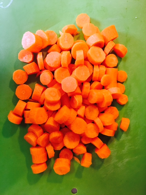 Chopped carrots.  I used a filter on my iPhone to make them look prettier.  Let's just be up front about that.