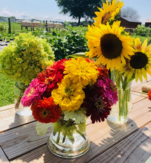 Flower bundles  (zinnias, sunflowers, hydrangeas, and other mixed flowers)