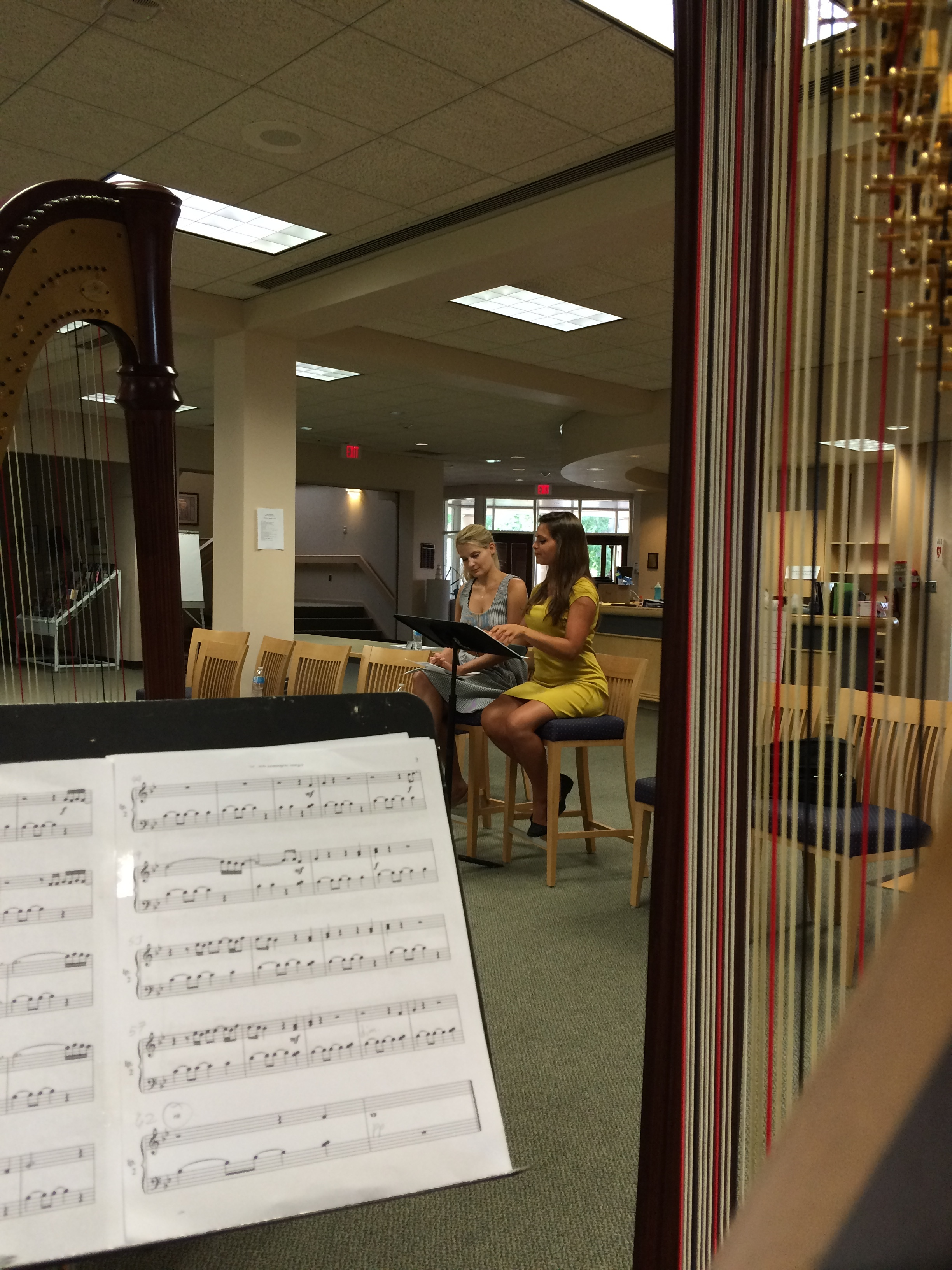 "The view from my stand during a rehearsal of ""Fly On"" with the harp duo Beyond Pluck"