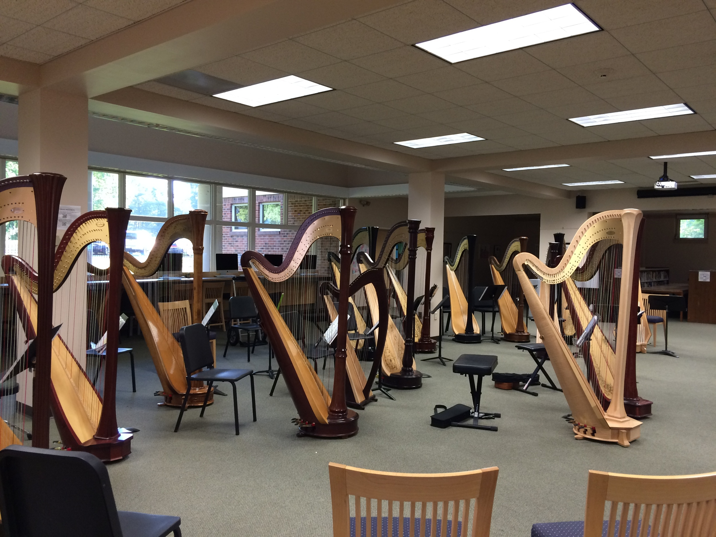 "All of the harps in place for Rachel Miller's arrangement of Coldplay's ""Fly On"""