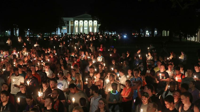 A candlelight vigil for Heather Heyer in Charlottesville, VA.