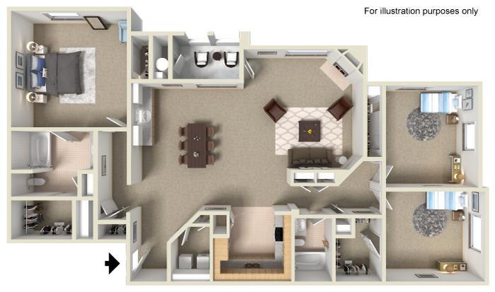Three Bedroom | Two Bath (R7 B)