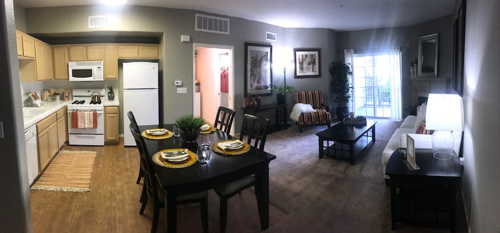 Panorama of kitchen and dining area