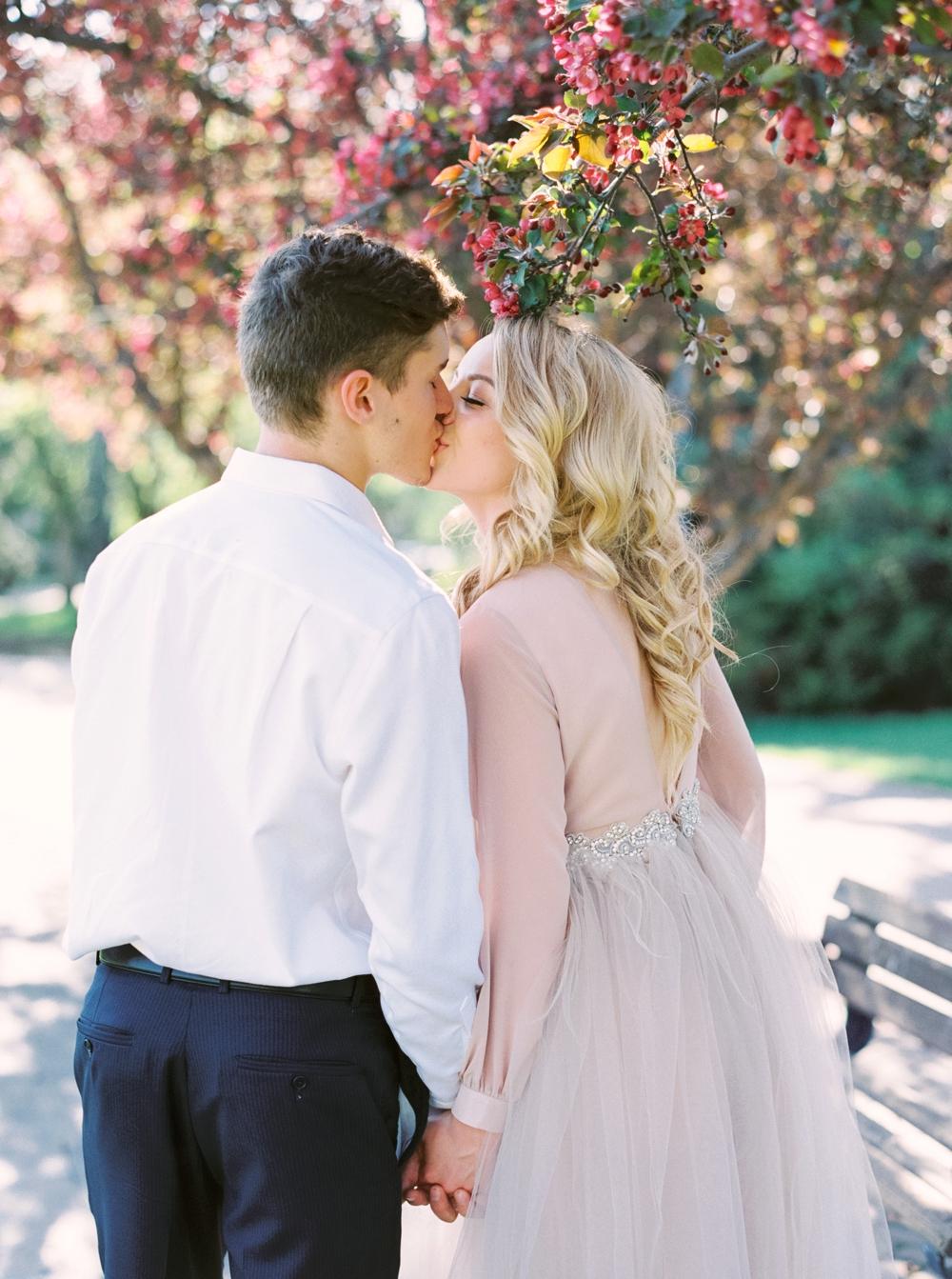 Calgary Wedding Photographers | Cherry Blossoms Wedding | Blush Wedding Dress | Bridal Editorial