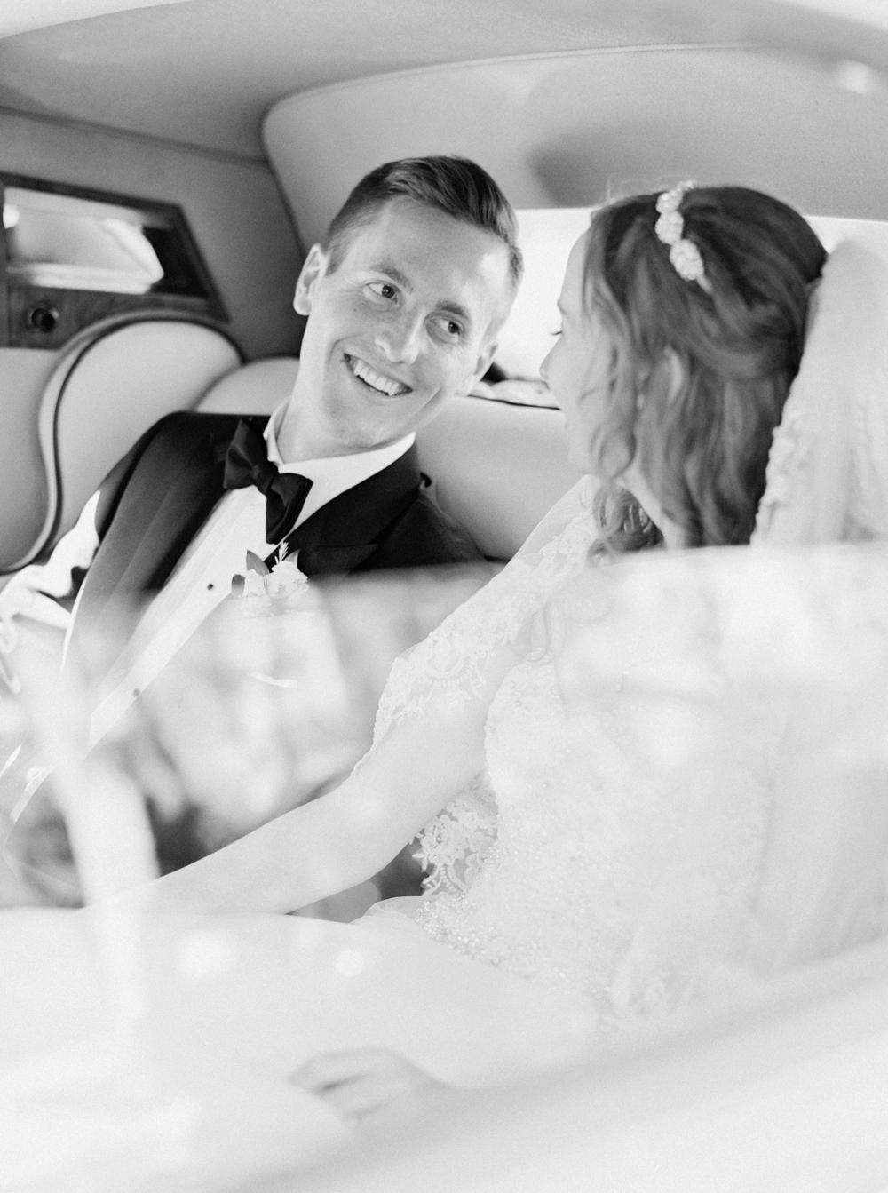 Calgary Wedding Photographer | Canmore Wedding Photographers | Banff Wedding Photography | Fairmont Palliser | Calgary Church | Blue bridesmaids | Vintage Car