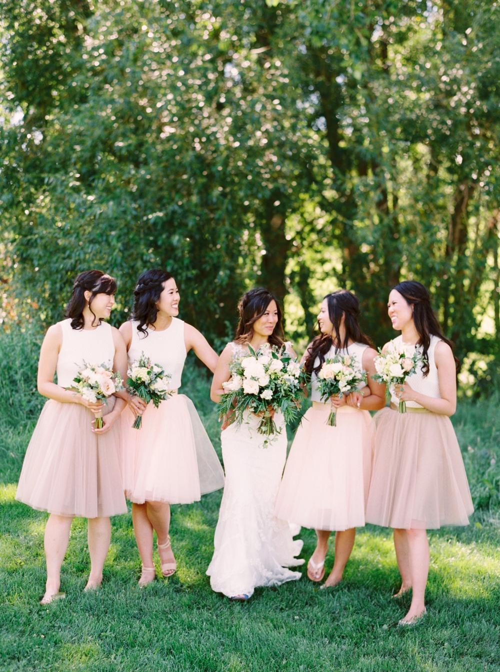 Calgary Wedding Photographer | Meadow Muse Pavilion Wedding | Canmore Photographers | Fish Creek Park | Bridesmaids crop top & skirt