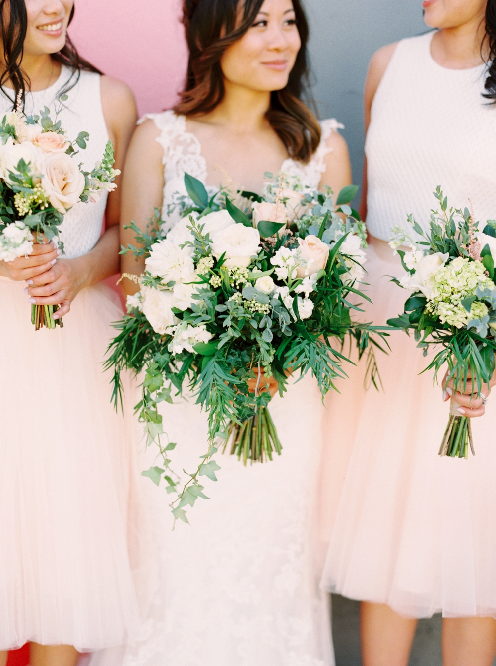 Calgary Wedding Photographer | Meadow Muse Pavilion Wedding | Canmore Photographers | Fish Creek Park | Bridesmaids blush pink croptop and skirt