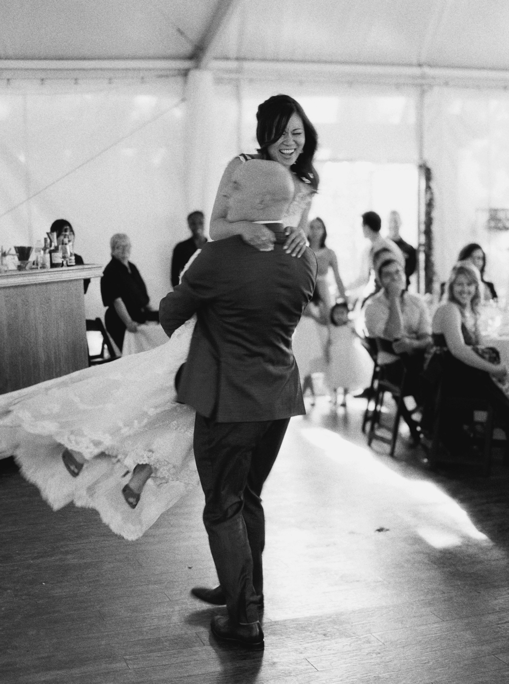 Calgary Wedding Photographer | Meadow Muse Pavilion Wedding | Canmore Photographers | Fish Creek Park Tent Wedding | Bride and groom first dance