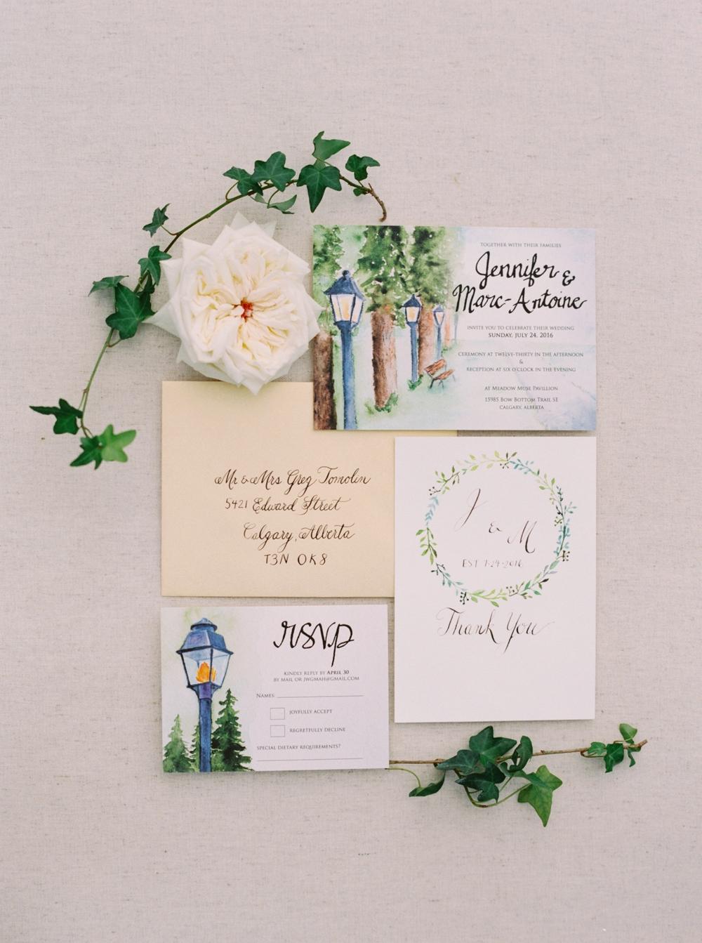 Calgary Wedding Photographer | Meadow Muse Pavilion Wedding | Canmore Photographers | Fish Creek Park Tent Wedding | calligraphy wedding invitation suite