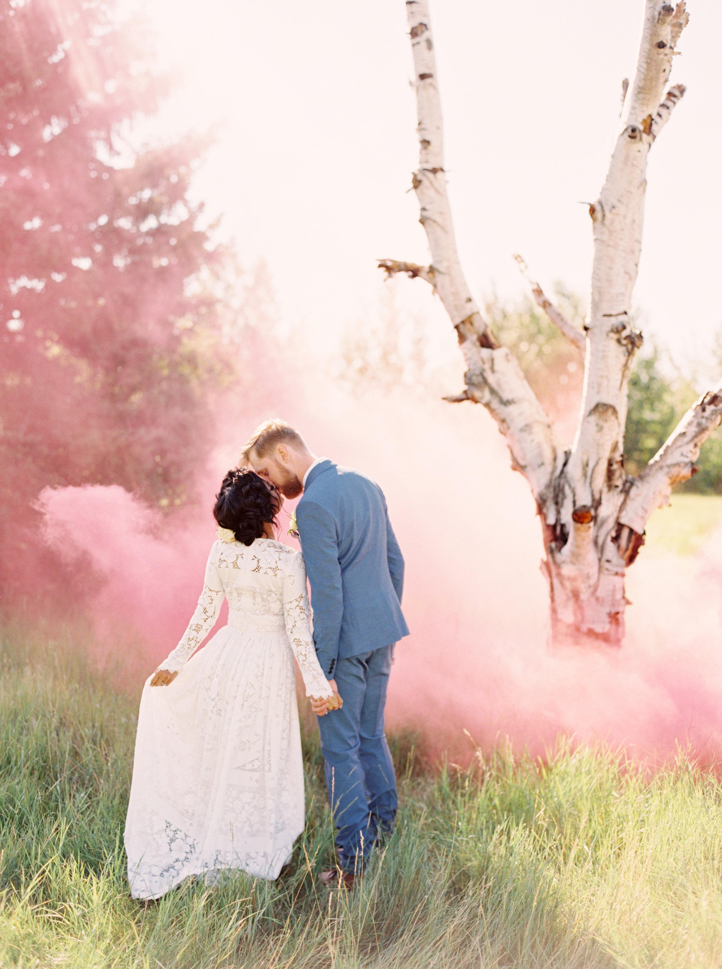 calgary wedding photographers   Smoke bomb wedding photo   fine art film photographers