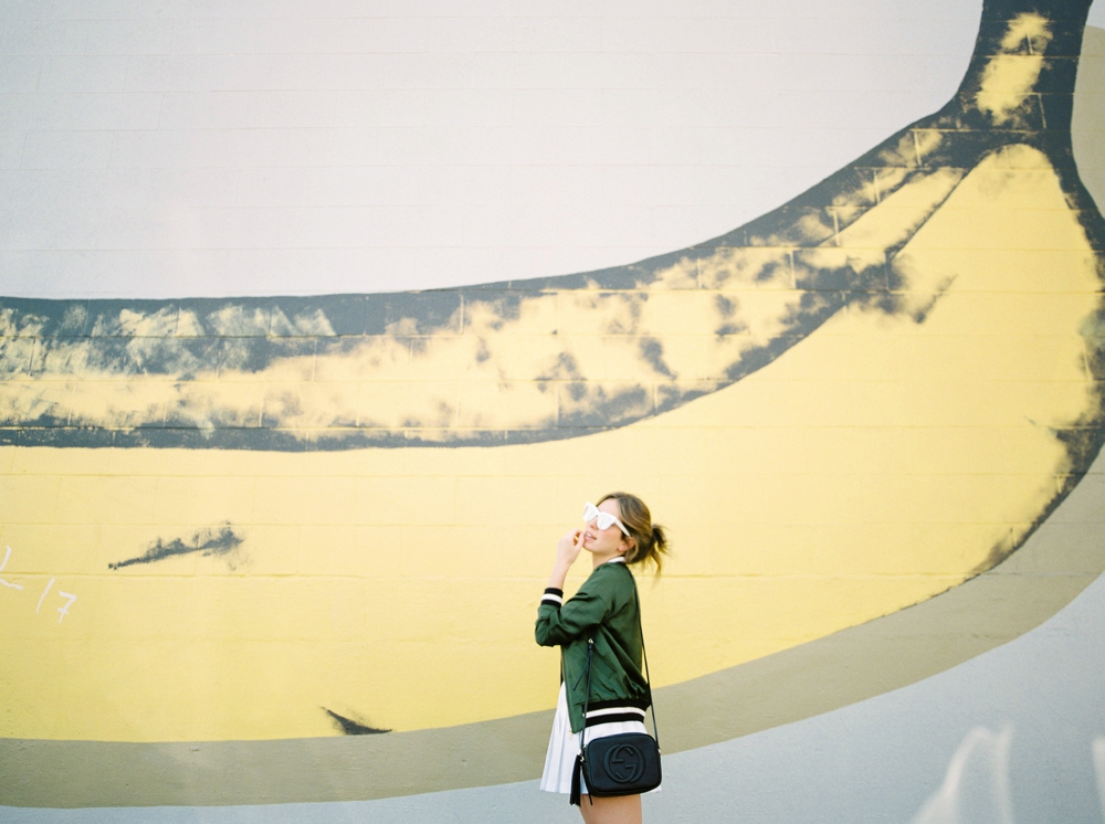 Canadian Fashion blogger life set sail travelling in Portland Oregon Art Fills the Void Banana Mural | Justine Milton fine art film photographer