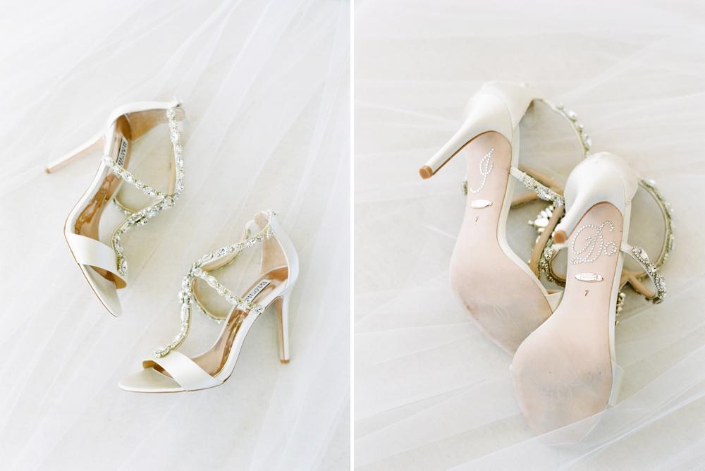 Bride Getting ready wedding details badgley mischka wedding shoes with IDO stickers | Banff Wedding Photographers | Justine Milton fine art film photography