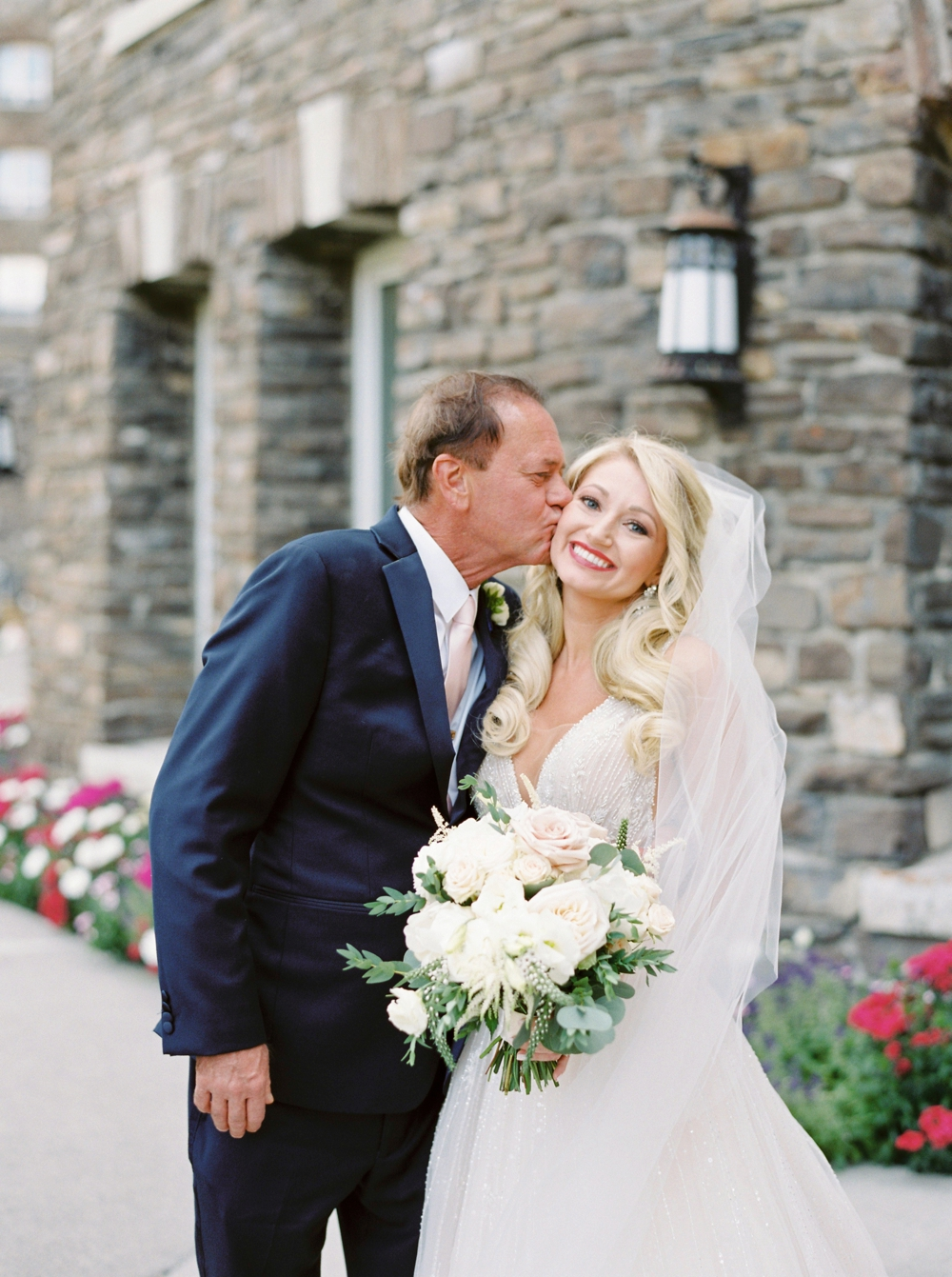 Bride and her dad at the Fairmont Banff Springs Hotel | Banff Rocky Mountain Wedding Photographers | Justine Milton fine art film photography