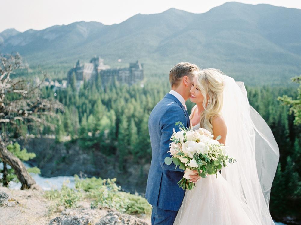 Bride and Groom portrait Surprise Corner Fairmont Banff Springs Hotel | Banff Rocky Mountain Wedding Photographers | Justine Milton fine art film photography