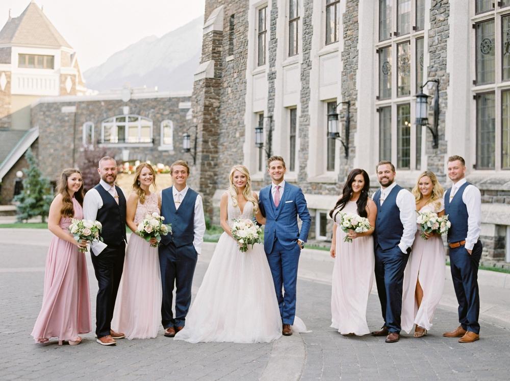 Bride and Groom portrait at Fairmont Banff Springs Hotel | Banff Rocky Mountain Wedding Photographers | Justine Milton fine art film photography