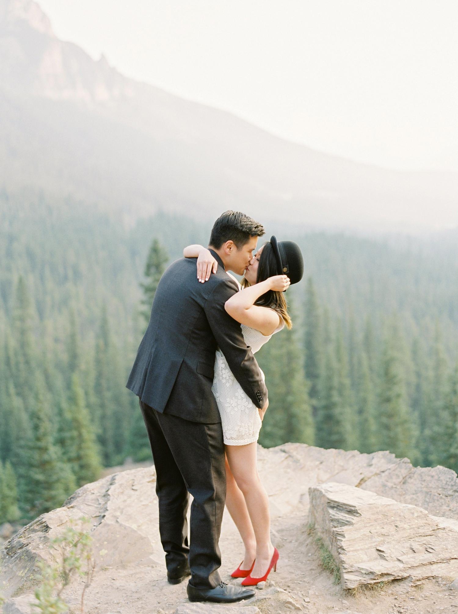 Banff Lake Louise wedding photographers | Engagement Session | Moraine Lake | Justine Milton Fine Art Film Photography