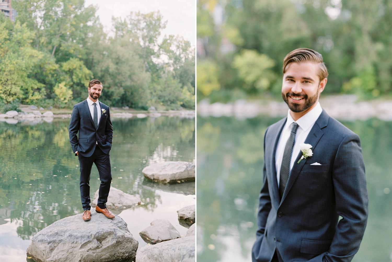 Calgary wedding photographers | fine art film | Justine Milton Photography | wedding inspiration | wedding dress | groom portraits | river | wedding suit