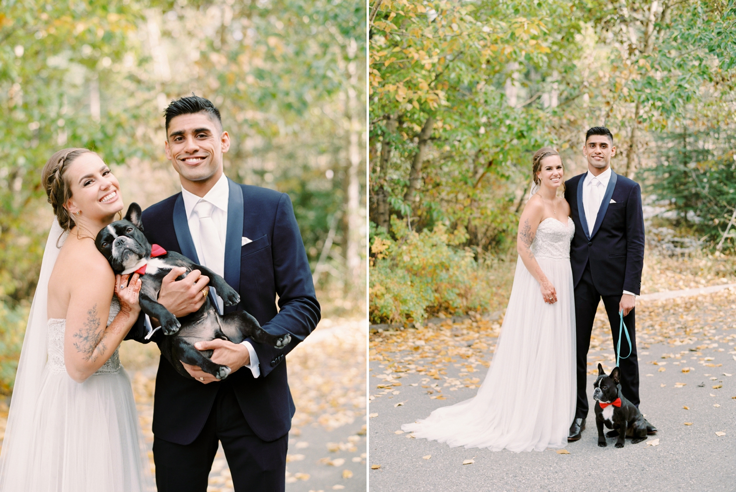 Calgary wedding photographers | fine art film | Justine Milton Photography | canmore wedding photographers | bride and groom portraits | dog | kiss