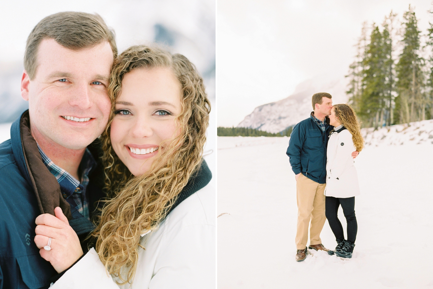 Winter anniversary session in banff | film photographers lake louise canadian rocky mountains | Justine Milton Photography