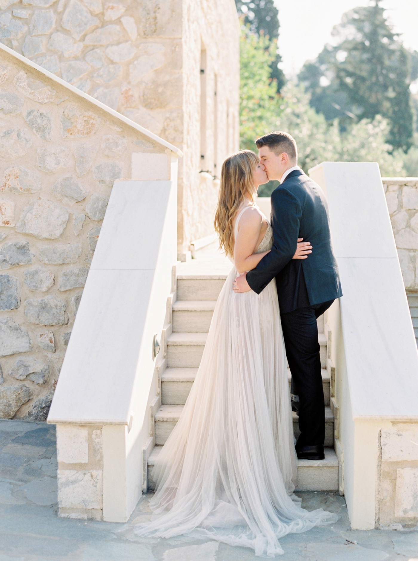 Greece wedding photographers | bride and groom in an olive grove | samuelle couture wedding dress