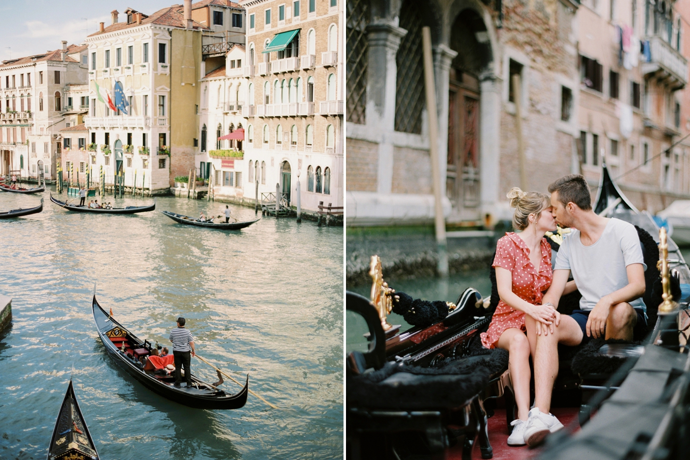fashion and travel bloggers in Venice italy   couples photo session venice canals italy with Justine milton film photography