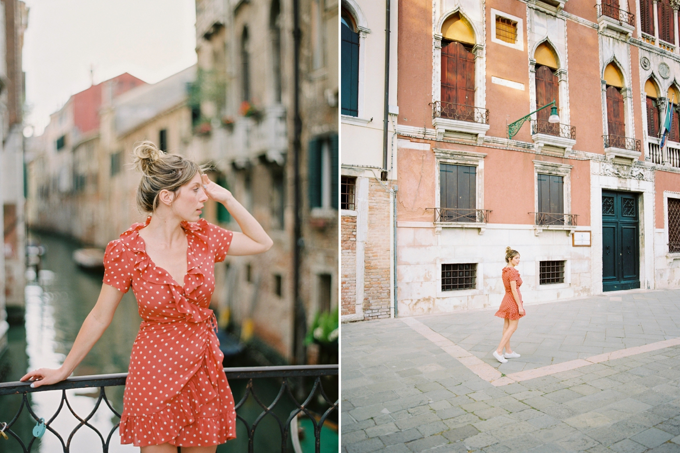 fashion and travel bloggers in Venice italy | couples photo session venice canals italy with Justine milton film photography