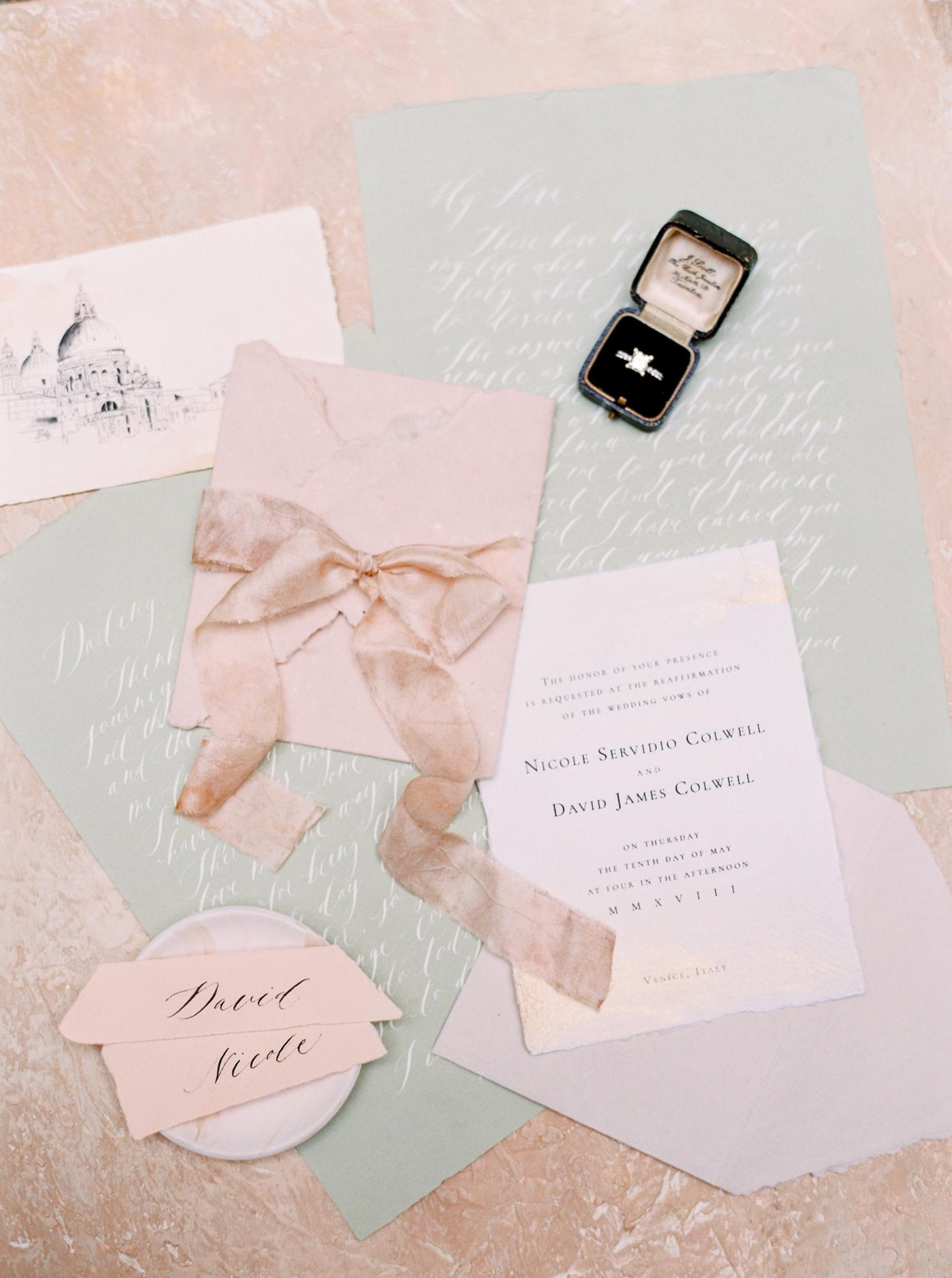 Venice italy wedding photographers | long sleeve wedding dress | italy vow renewal | justine milton fine art film photographer | wedding stationery details