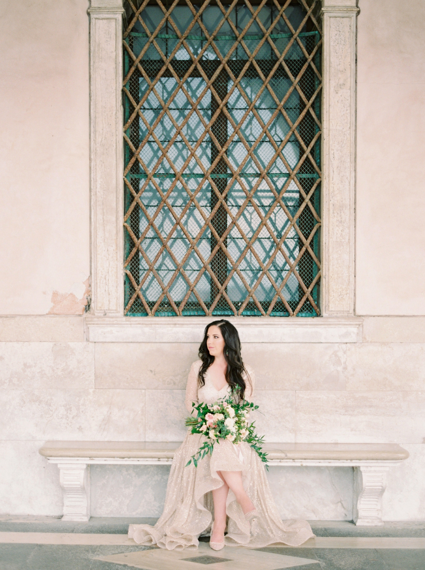 Venice italy wedding photographers | long sleeve wedding dress | italy vow renewal | justine milton fine art film photographer | bridal portraits