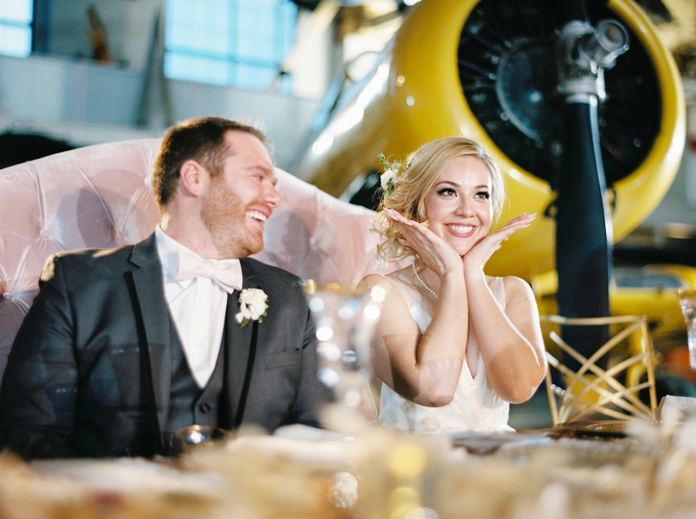 calgary wedding photographers | Ukrainian wedding | justine milton fine art photographer | wedding reception airplane museum candids