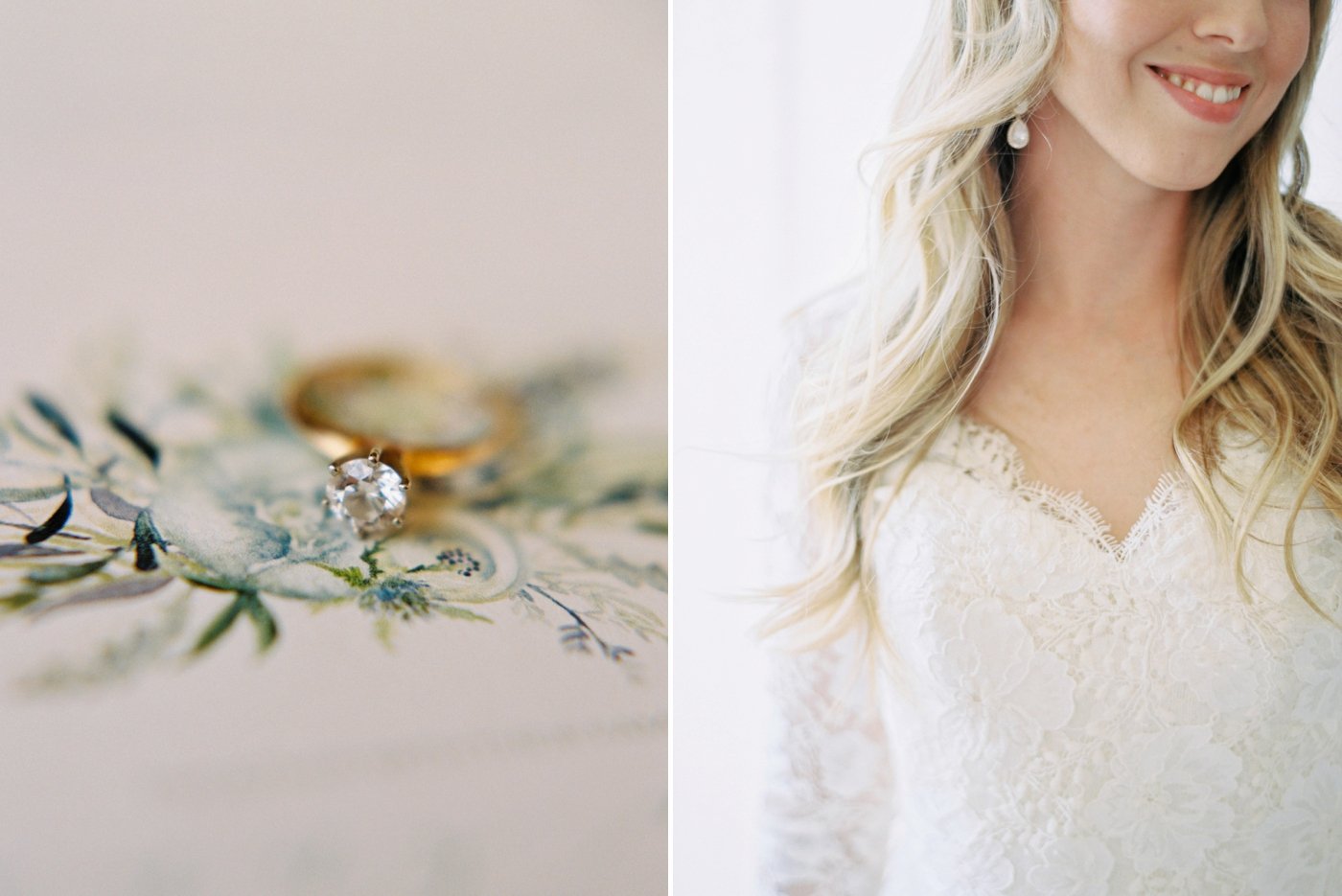 Calgary wedding photographers | The Gathered Farm Wedding | Justine milton fine art film photographer | bride getting ready details diamond engagement ring