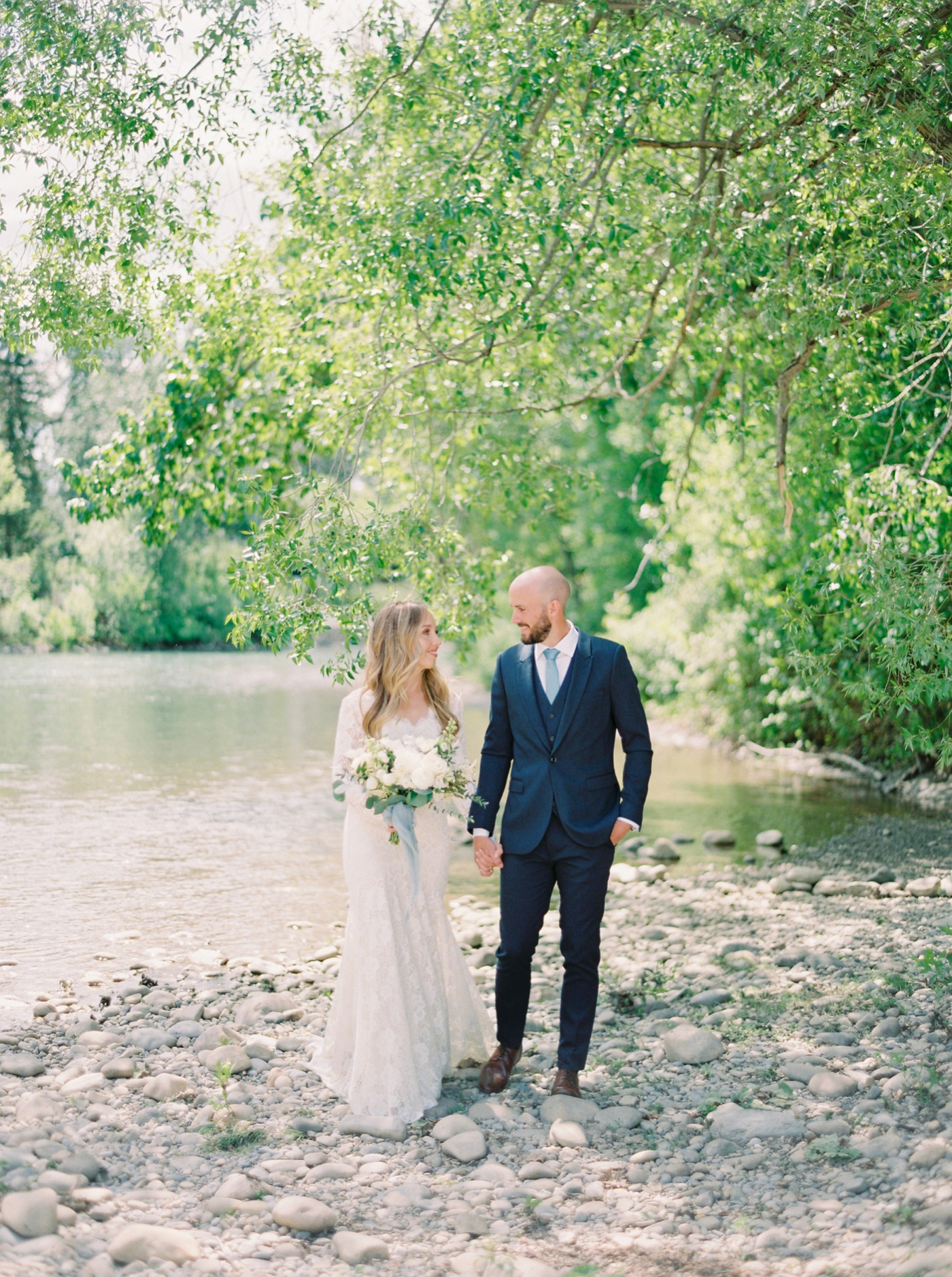 Calgary wedding photographers | The Gathered Farm Wedding | Justine milton fine art film photographer | bride and groom portraits