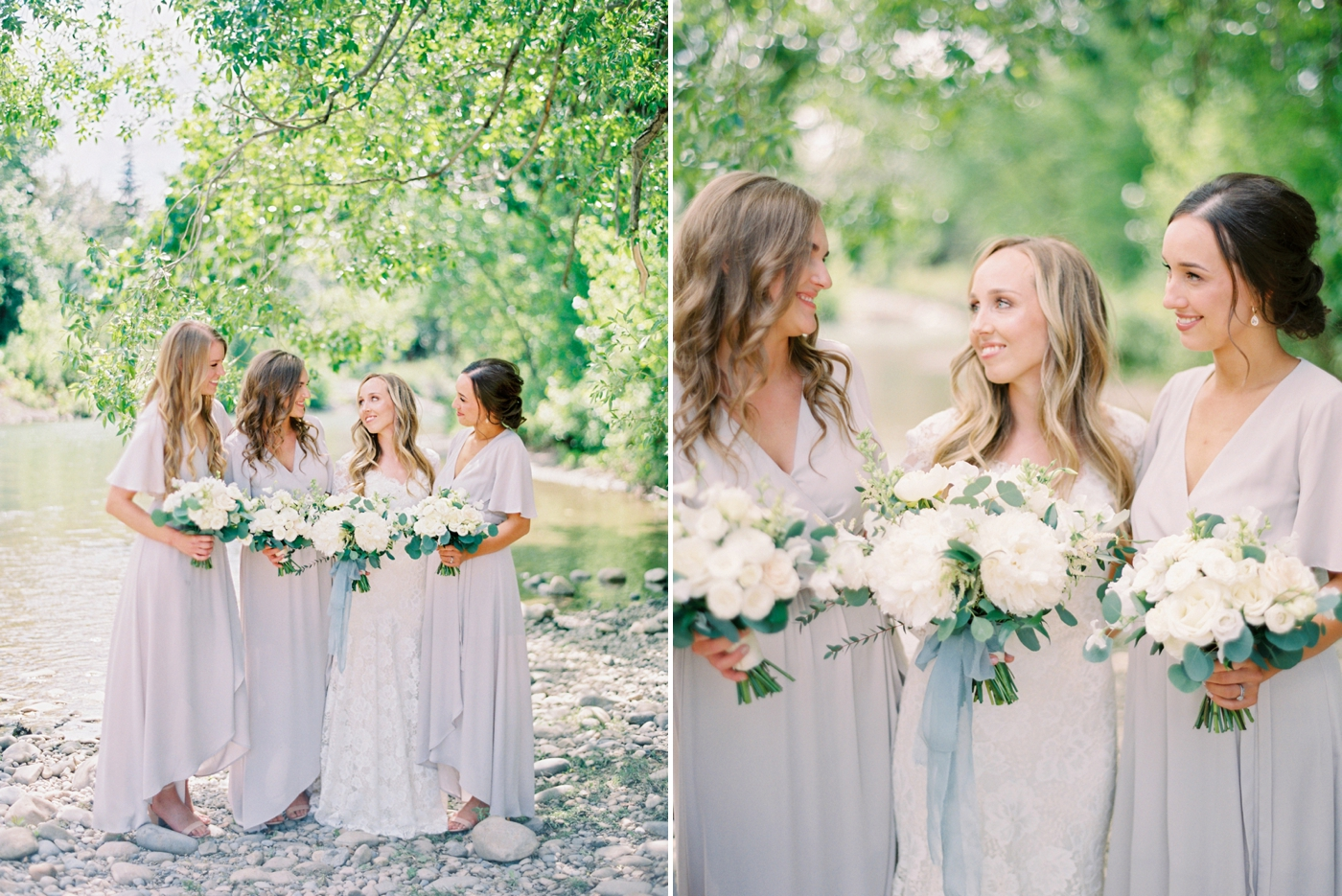 Calgary wedding photographers | The Gathered Farm Wedding | Justine milton fine art film photographer | bride and bridesmaids portraits nude dresses white peony bouquets