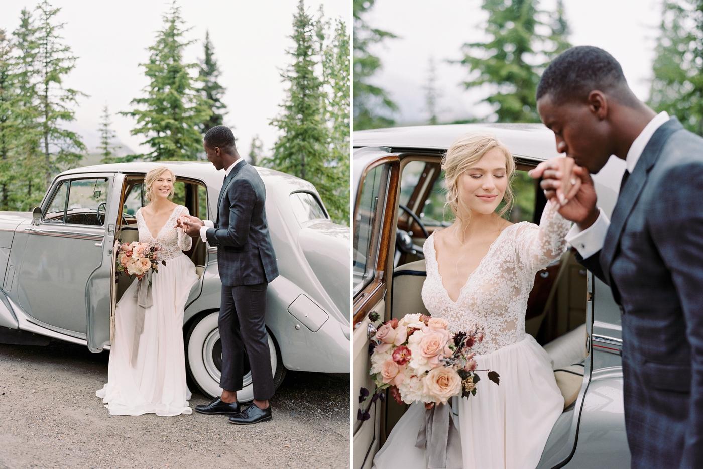 Stacey Foley Design Joy Wed Fine Art Series Photography Workshop | Banff wedding photographers | Rimrock resort wedding | bride and groom portraits with vintage rolls royce banff wedding photographers