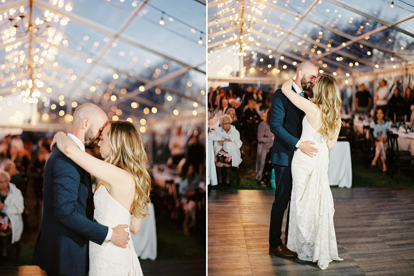Calgary wedding photographers | The Gathered Farm Wedding | Justine milton fine art film photographer | clear tent wedding reception first dances