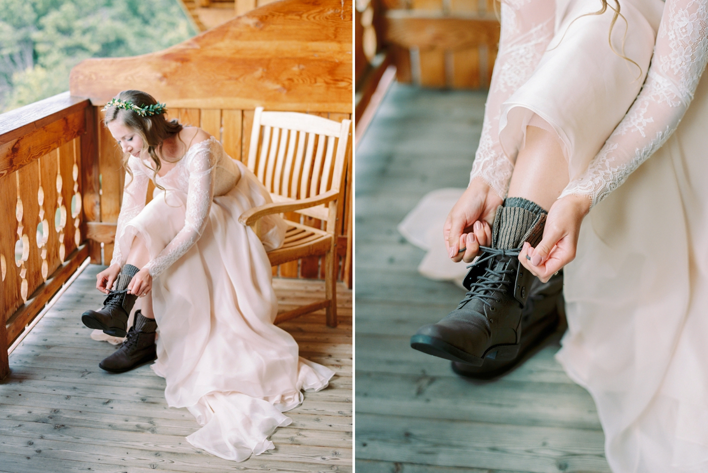 Italy wedding photographers | Dolomites mountain top wedding | bridal prep bride getting ready ski chalet | justine milton fine art film photographers