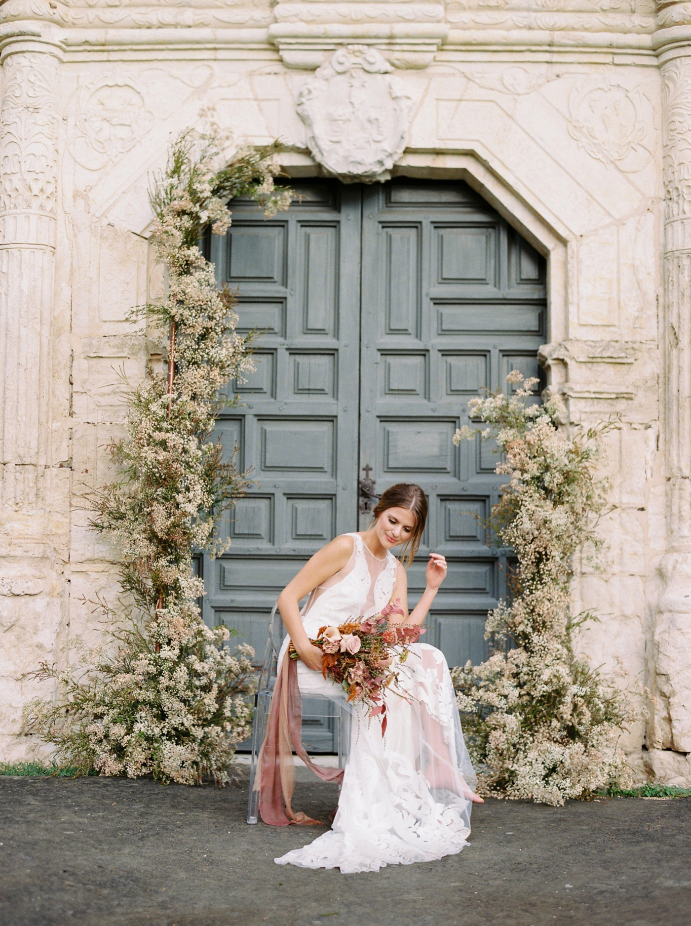 Justine milton photography | san antonio wedding photographers | fine art film photographer | destination wedding |flower arch outdoor ceremony