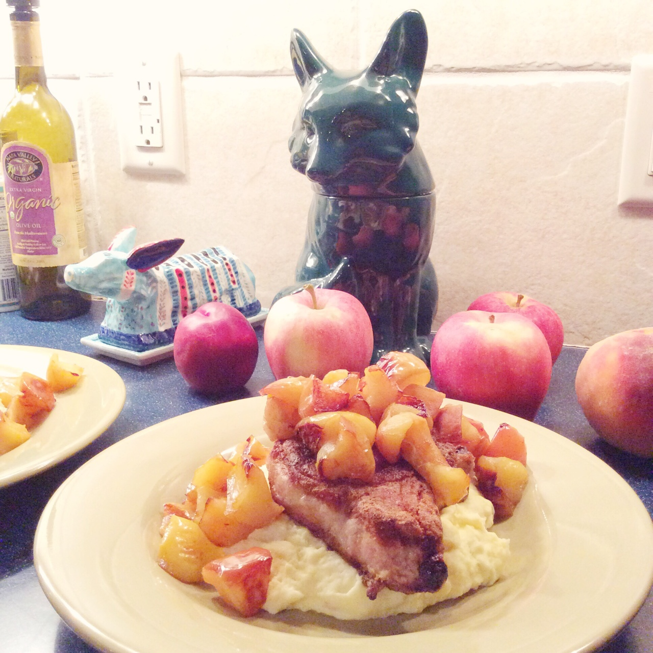 pork chops with apples and mashed potatoes. recipe coming soon