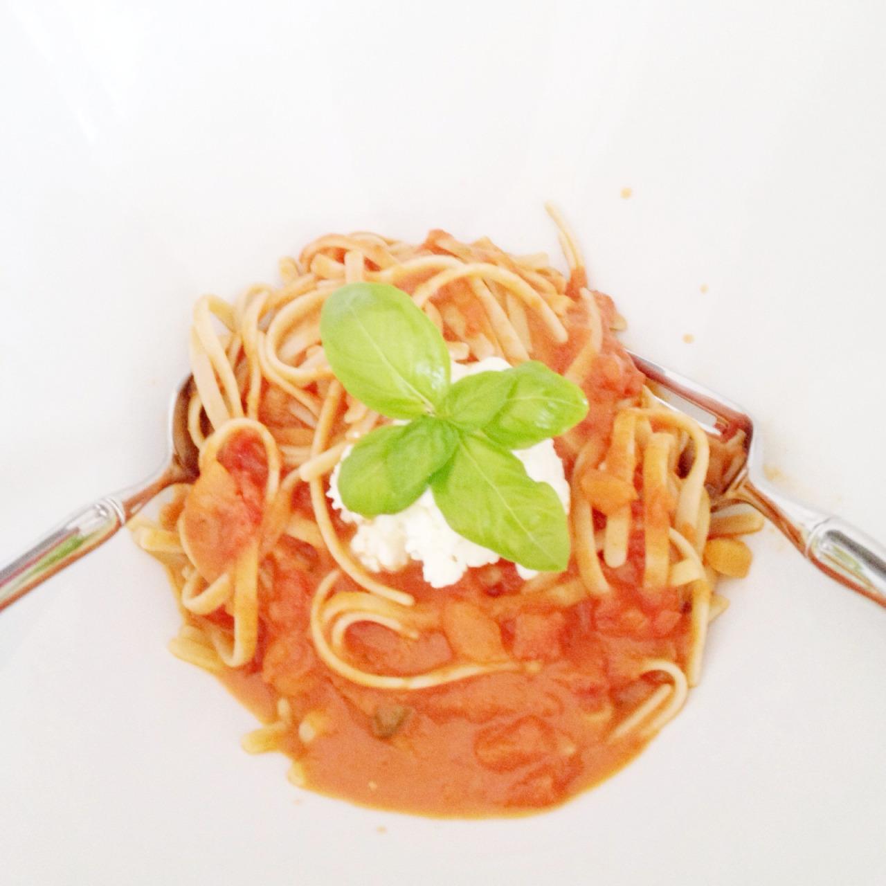 plum tomato sauce and homemade ricotta. recipe coming soon.
