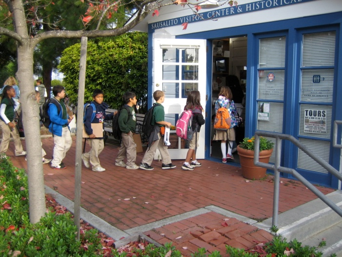 The students visit the Ice House and historic downtown Sausalito to learn more about the diverse groups of people---Native American, Spaniard, Mexican, Portuguese, English, Canadian, Chinese, African American--- who settled in Sausalito during Sausalito's early years and left a their imprint on the  community.