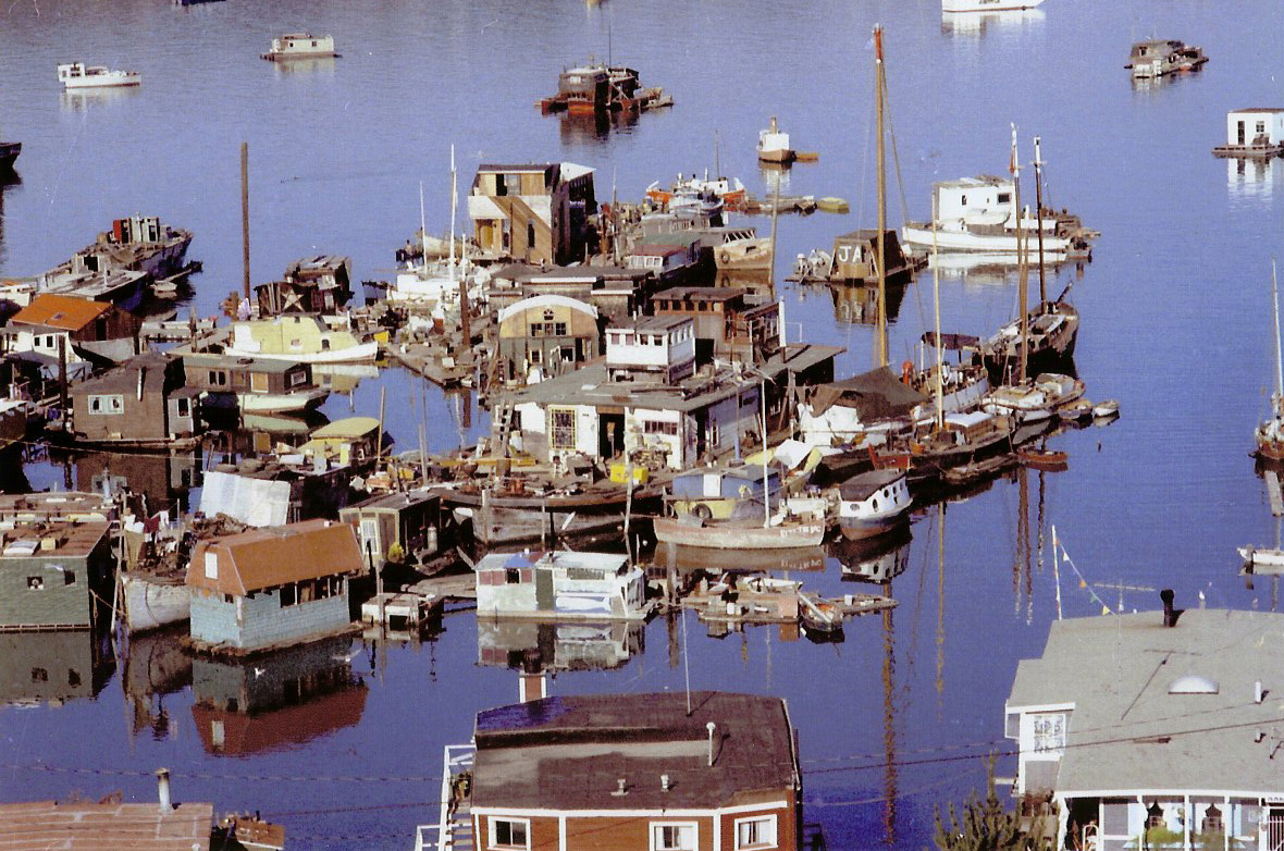 Hodgepodge surrounding Whitey's Marina and the Oakland (center).    Photo by Charlotte Von Segesser, courtesy of Joe Tate